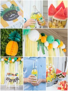 Tropical Father's Day. Perfect tropical themed party with pineapples, watermelon, and jarritos. Easy diy photo booth!