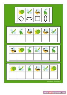 Board for the insect visual perception game. Find the belonging tiles on… Dyslexia Activities, Montessori Activities, Brain Activities, Preschool Activities, Preschool Education, Preschool Math, Preschool Worksheets, Teaching Kids, Coding For Kids