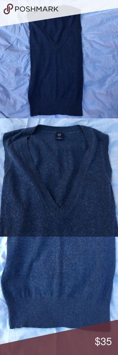 Brand New w/out Tags GAP cashmere sleeveless vest Brand New without Tags. GAP sleeveless sweater vest. Gorgeous, classic blue. 85% cotton 15% cashmere. Pullover. Size XS GAP Sweaters V-Necks
