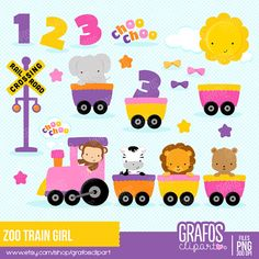ZOO TRAIN GIRL Digital Clipart Set Train Clipart by GRAFOSclipart