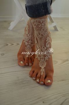 Wedding barefoot crochet beach sandal