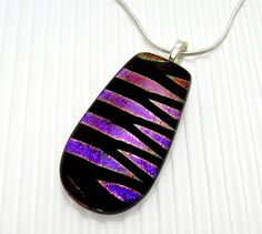 Dichroic Glass Pendant Fused Glass Purple by TremoughGlass on Etsy, $22.00