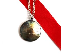 Domed Coin State Quarter Necklace Indiana Pendant 2002 - Hendywood: Unique Rustic Handmade Jewelry