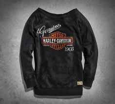 Harley-Davidson® Women's Genuine Activewear Pullover Bar and Shield® Black Motorcycle Style, Biker Style, Motorcycle Fashion, Biker Fashion, Motorcycle Chaps, Motorcycle Garage, Women's Fashion, Biker Chick, Biker Girl