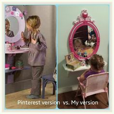 I made a vanity with a  10 stool and shelf from hobby lobby  Painted them   put zebra tape on the top to match her room and added a mirror I made a vanity with a  10 stool and shelf from hobby lobby  . Diy Vanity For Little Girl. Home Design Ideas