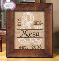 "Mr Mrs Personalized Burlap 8""x10""  Lots of Choices Zebra Lace Leopard Est Date Name Wall Sign Embroidered Wedding Rustic Gift - pinned by pin4etsy.com"