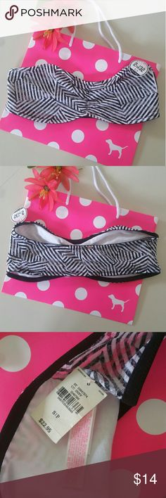 VS PINK Bandeau Top NWT new with tags Victoria's Secret PINK Bralette bandeau top Black and white stripe geometric pattern Size small  PRICE FIRM   NO TRADES PLEASE PINK Victoria's Secret Intimates & Sleepwear Bandeaus