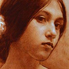 Detail, monochrome portrait, oil painting.