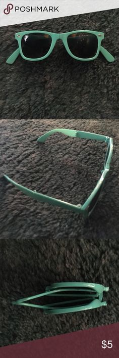 Foldable Sunglasses Light teal foldable sunglasses. Perfect for storing in a small bag. Charlotte Russe Accessories Sunglasses