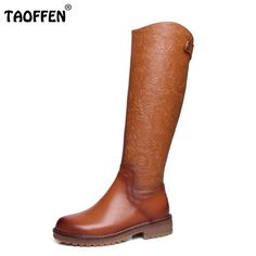 ea7ce10e121 Vintage Women Real Leather Knee Boots Winter Snow Boots Sexy Square Heel  Fashion Zip Women Riding