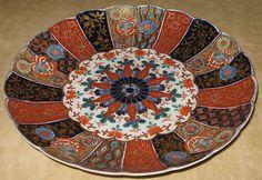 "Antique Japanese Scalloped Imari Porcelain Plate with Chrysanthemum Center and Tapestry Rim 10"" diameter. | eBay"