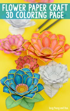 Paper Craft Flowers Coloring Pages by Andreja Vucajnk-If you're more a fan of paper crafts than coloring pages for adults though there's a pre-colored version included in the printable too! Flower Coloring Pages, Colouring Pages, Coloring Books, Fun Crafts, Crafts For Kids, Arts And Crafts, Paper Crafts, Flower Crafts, Diy Flowers