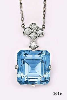 Art Deco Emerald-cut aquamarine, diamond and platinum necklace. Tiffany & Co by daemongirl