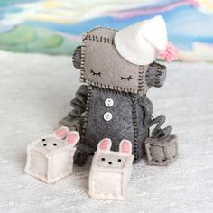 Sleeping Robot With Bunny Slippers in Pink, Robot Plush, Robot Nursery Geek Plush by GinnyPenny on Etsy https://www.etsy.com/listing/123983708/sleeping-robot-with-bunny-slippers-in