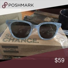 Toms sunglasses brand new!!!! Super cool chambray Toms sunglasses never worn with canvas case cloth plastic on the arms and in the box Toms Accessories Sunglasses