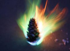 Color burning fire with pine cone, vermiculite saturated with long burning soywax and household chemicals like borax. Fill into a hollow bamboo makes an attractive fire brand. Outdoor use only as once ignited it cannot be blown out.