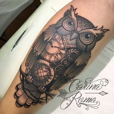 Clockwork owl neo-traditional tattoo by Carina Roma