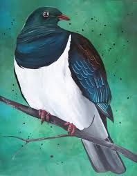 NZ Pigeon on Canvas - kiwiana Painting For Kids, Art For Kids, Hobbies And Crafts, Arts And Crafts, Bird Free, Dove Bird, Nz Art, Kiwiana, Watercolor Techniques
