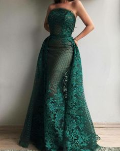 2019 Luxury Dark Green Lace Sequins Strapless Evening Dresses with Train Long Formal Dress Party Vestido Dubai Robe De Soiree Ball Dresses, Ball Gowns, Prom Dresses, Formal Dresses, Dinner Gowns, Evening Dresses, African Fashion Dresses, African Dress, Beautiful Gowns