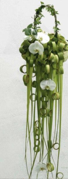 Unique green cascading bouquet.