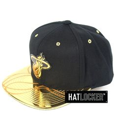size 40 6249e 55de2 Hat Locker    Mitchell   Ness Miami Heat Gold Standard Snapback    Free  shipping