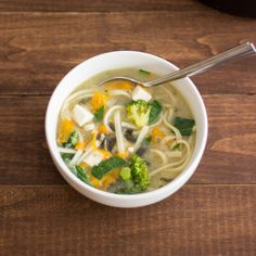 Quick Tofu, Noodle, and Vegetable Miso Soup