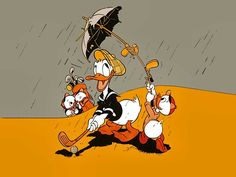 Donald Duck staying dry with the help of his nephews is too the tee!