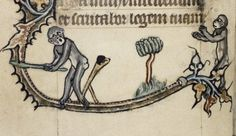 Monkeys playing bat-and-ball game. Douce  6, c.1320-1330, fol. 18v. Bodleian Library.