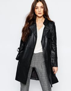 Image 1 of Mango Premium Real Leather Trench Coat