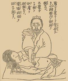 Illustrations of Classical Fukushin Method (from Fukusho Kiran Yoku, 1809): http://kampo.ca/herbs-formulas/diagnosis/abdominal-diagnosis/