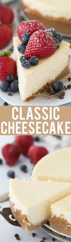 A perfect classic cheesecake recipe with a graham cracker crust! If you like cheesecake, this is the best homemade classic cheesecake! Best Dessert Recipes, Fun Desserts, Pie Recipes, Winter Desserts, Baking Desserts, Holiday Recipes, Baking Recipes, Sweet Recipes, Delicious Desserts