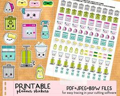 Kawaii Cleaning Chores Stickers mix set - Cute Printable Kawaii Planner stickers, print and cut stickers for Happy Planner, Filofax, Erin Condren - PDF, JPEG and Black and white file for easy tracing in Silhouette  Keep track of your cleaning chores with this set of kawaii stickers : dishwasher, washing machine, dish soap, sponges, washing dishes, bucket, vacuum, laundry basket, bin, recycling bin...  Perfect to decorate all types of planners (Happy Planner, Erin Condren Life Planner…