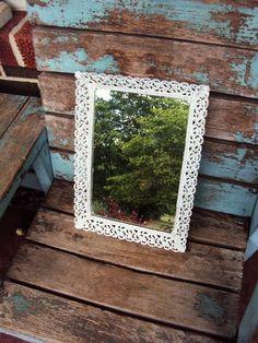 Vintage Shabby Chic Mirror Vanity Tray by primitivepincushion