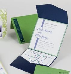 Navy and Green Pocket  Wedding Invitation Suite  by LamaWorks, $8.05