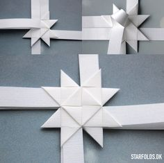 Danish style of Christmas folding paper ! Christmas Star, Christmas Crafts, Christmas Decorations, Christmas Ornaments, Origami Paper, Diy Paper, Paper Crafts, 3d Origami Stern, Snowflake Origami