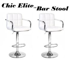 """Chic Elite Modern Adjustable Synthetic Leather Swivel Bar Stools - White - Set of 2 by South Mission. $139.95. Durable Synthetic Leather - White. Chrome Accents. heavy duty hydraulic strut - 3 year warranty. Swivels 360 degrees, and height adjusts from 24""""-33"""". Hi-back for added comfort and support. The Chic bar stools are just that, Chic. The Elite version now has arm rests for added comfort. These stools will add high style to your home, office, or restaurant/ba..."""