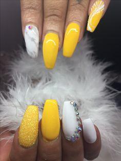 Yellow gel nail polish  Fairy dust effect ,Alpine snow and rhinestone