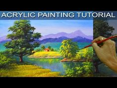 Snowy Winter Landscape with Red Barn Acrylic Painting Tutorial for Beginners LIVE #LoveWinterArt - YouTube