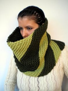 Items similar to SALE Double Green Oblique Greta Fashion Cowl Super Soft Wool Neckwarmer Unisex Chunky Fashion Cowl on Etsy Hooded Scarf, Tie Styles, Neck Warmer, Hand Knitting, Knit Crochet, Unisex, Trending Outfits, Unique Jewelry, Scarves