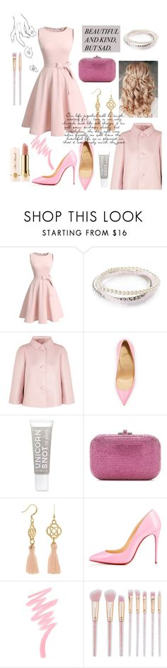 """""""Betty Cooper"""" by aluin ❤ liked on Polyvore featuring Accessorize, Prada, Too Faced Cosmetics, Retrò, Christian Louboutin, Judith Leiber and Victoria's Secret"""