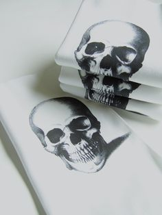 Skull Printed Cotton Hand Towels