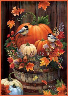 Autumn Painting, Autumn Art, Autumn Leaves, Fall Paintings, Diy Painting, Pumpkin Painting, Decoupage, Pumpkin Garden, Autumn Scenes