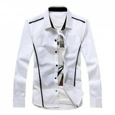 $9.49 Casual Style Shirt Collar Applique Stripes Long Sleeves Slimming Polyester Shirt For Men