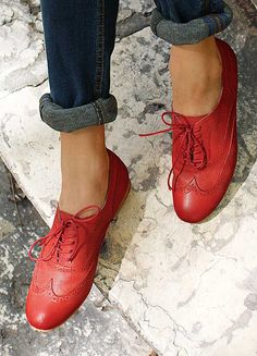 Leather Perforated Brogues - Leather brogues with decorated perforations and laces. £45. #red #brogues