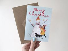 Girl with Snowman  Illustrated Christmas Card by emmablock on Etsy