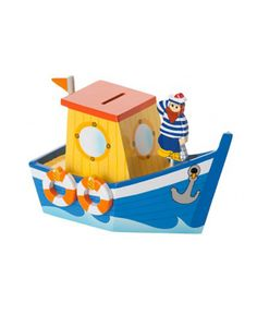 Wooden Fishing Boat Money Box