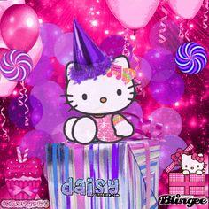 Mickey Mouse, Hello Kitty Clothes, Hello Kitty Images, Hello Kitty Birthday, Crochet Girls, Gif Pictures, Birthday Cards, Birthday Stuff, Cat Gif