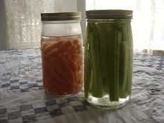 Keep your celery and carrots fresh and crunchie by storing them in mason jars full of water. Just change the water every other day and they will stay fresh for awhile.