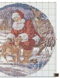 Cross-stitch Santa with Deers, part 2..  color chart on part 1