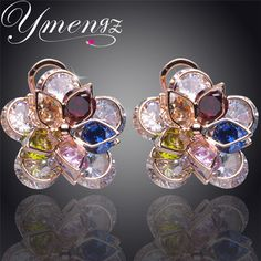 YMENG New Colorful Crystal Zircon Flower 18K Gold Plated Crystal Stud Earrings For Women Fashion Jewelry Free Shipping Wholesale